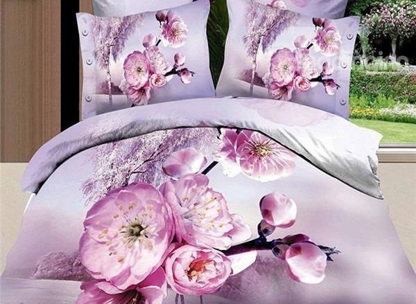 Pink Peach Blossom Print 4-Piece Cotton Duvet Cover Sets