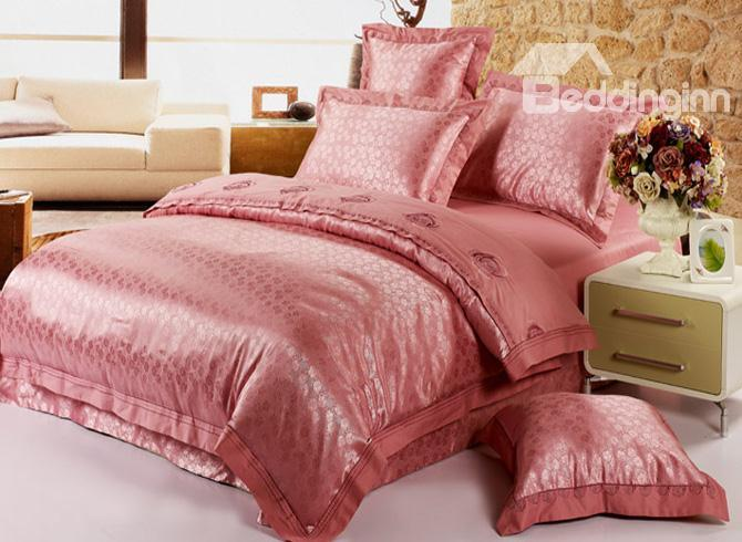 Aristocratic Pale Mauve Jacquard And Embroidery 4 Piece Satin Bedding Sets 10490296)