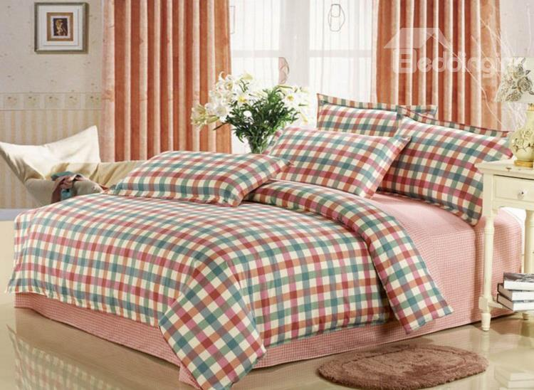 Warm-Toned Plaid Print Color Stagger 4 Piece Bedding Sets