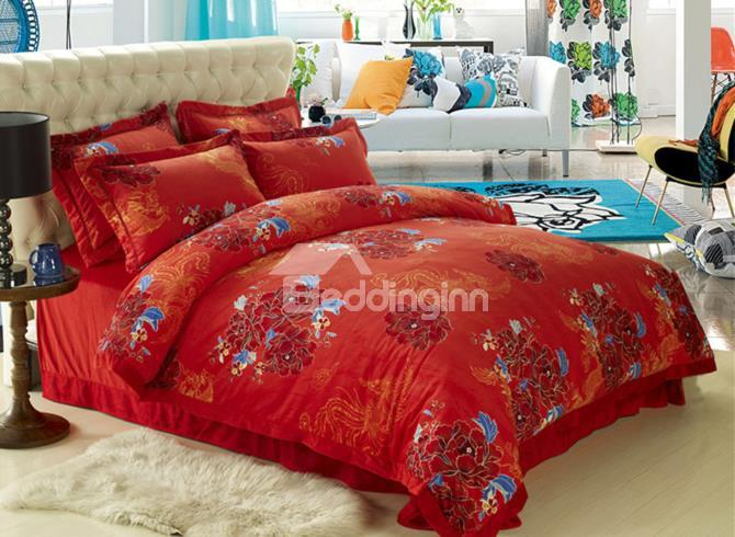 High Quality Big Flowers Print Sandedcloth Material 4 Piece Bedding Sets