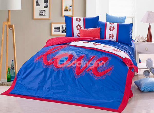 Hot Selling Romantic Love And Kisses 4-Piece Duvet Cover Sets