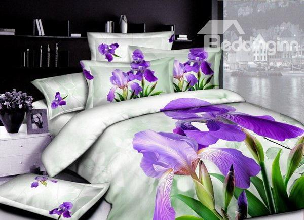New Arrivals High Quality Fresh Style Purple Blooming Flowers 4 Pieces Bedding Sets