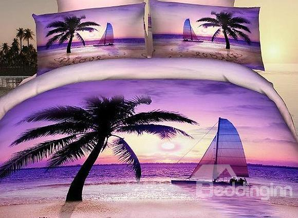 New Arrival 100%Cotton Palm Beach Sea Of Love 4 Piece Bedding Sets/Duvet Cover Sets