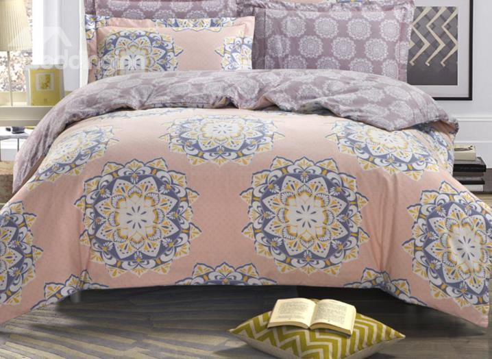 Comfortable Unique Big Floral Pattern 4-Piece Cotton Duvet Cover Sets