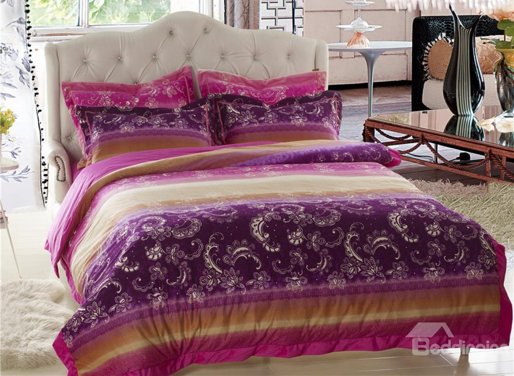 New Arrival Beautiful Flower Print Sandedcloth Material 4 Piece Bedding Sets