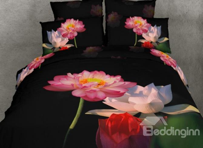Fragant Beautiful Color Lotus Print 3d Duvet Cover Sets