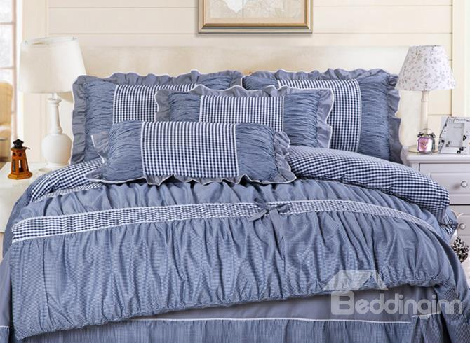 Classic Checked Lace Edge Bowknot Dark Blue 4 Piece Cotton Bedding Sets