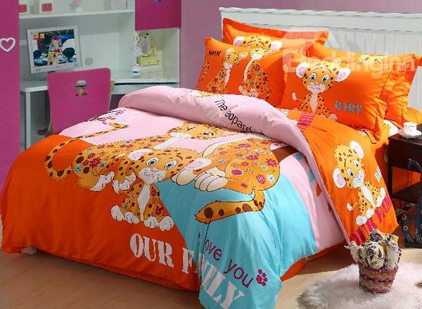 Leopard Family Print 4-Piece Cotton Duvet Cover Sets