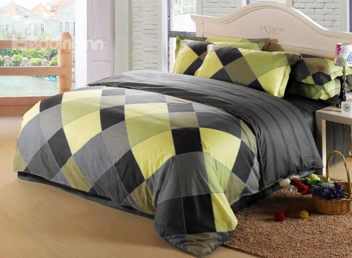 Green And Gray Grid Print 4-Piece Cotton Duvet Cover Sets