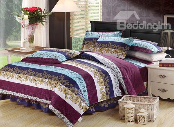Refined Flower In A Row Print 4-Piece Cotton Duvet Cover Sets