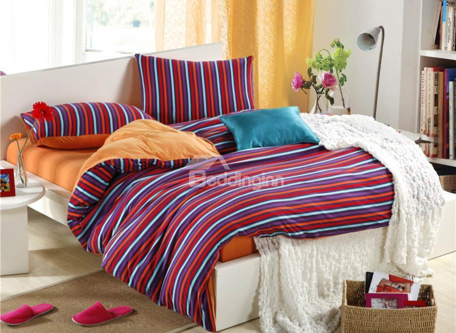 Unique Pure Cotton Knitting Brighten Orange Color Stripes 4 Piece Bedding Sets