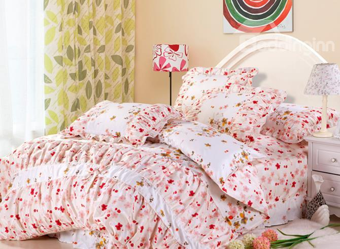 100%Cotton Floral Bowknot Lace Edge Fastoral 4 Piece Cotton Bedding Sets