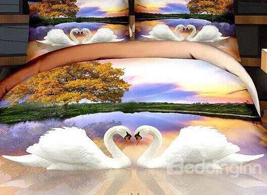 Beautiful White Swan Couples Print4-Piece Cotton Duvet Cover Sets