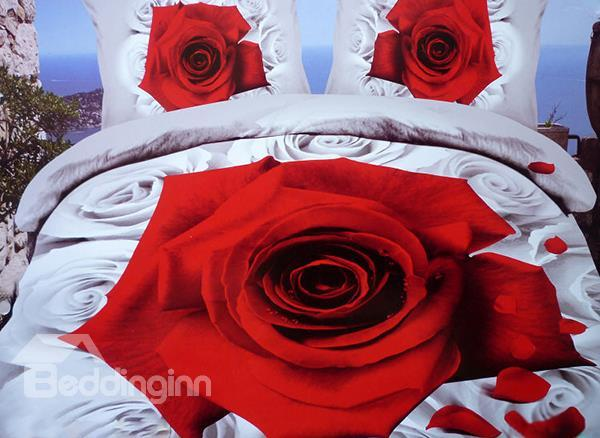 New Arrival Big Red Rose Print 4 Piece Bedding Sets/Duvet Cover Sets