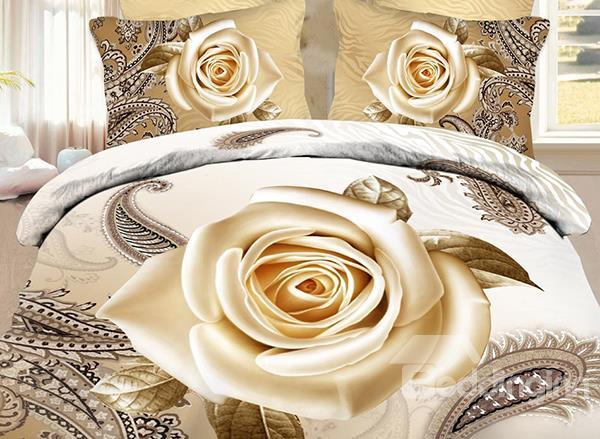 Skincare Cream Rose And Paisley Flower Print 3d Duvet Cover Set