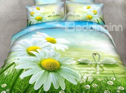 New Arrival 100%Cotton Beautiful Daisy And Swans Print 4 Piece Bedding Sets