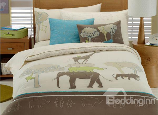 The Animals Living In Peace Print 3-Piece Cotton Duvet Cover Sets
