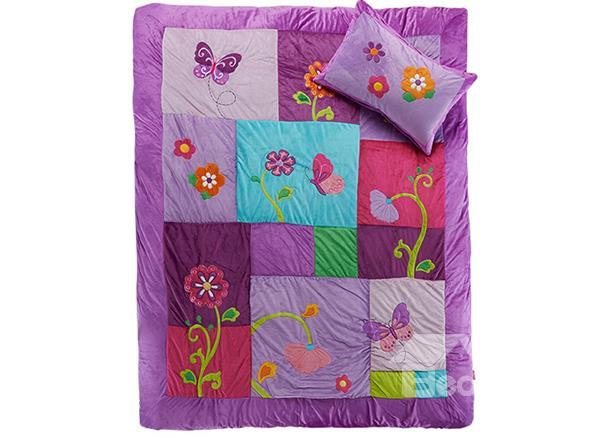Butterfly Fairy And Flower Embroidery 2-Piece Micro Fiber Princess Duvet Cover Sets
