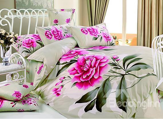Elegant Pink Flower Print 4-Piece Cotton Duvet Cover Sets