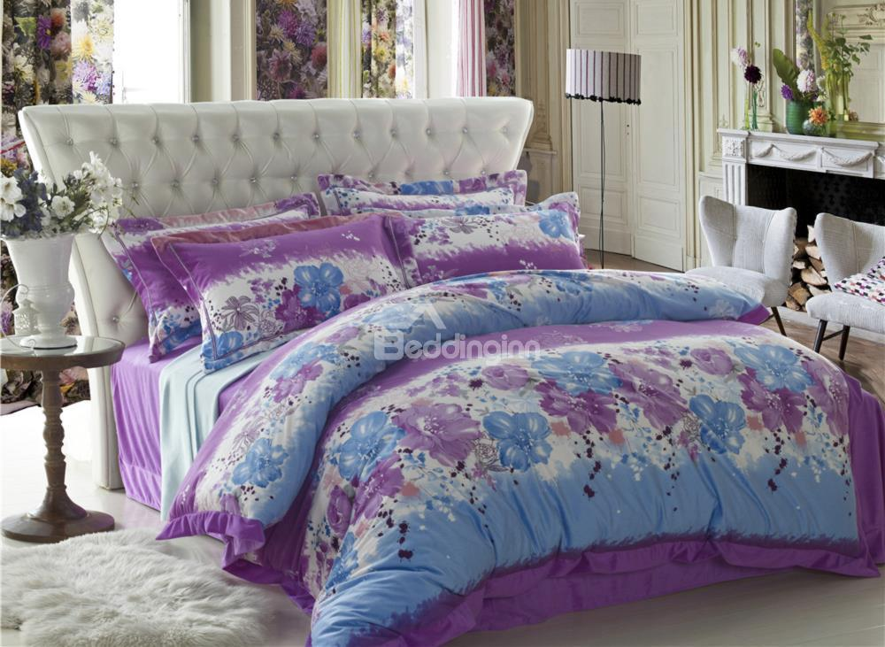 Brisk Color With Flower Print Sandedcloth Material 4 Piece Bedding Sets