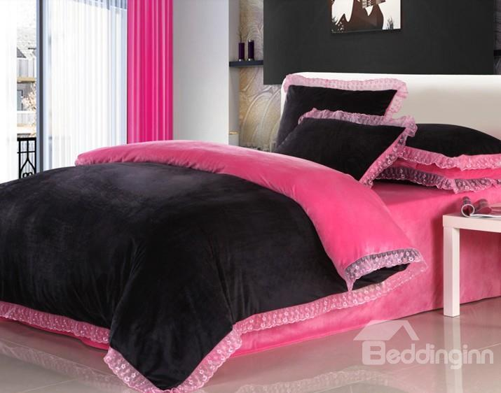 Elegant Candy Color 4-Piece Coral Fleece Duvet Cover Sets