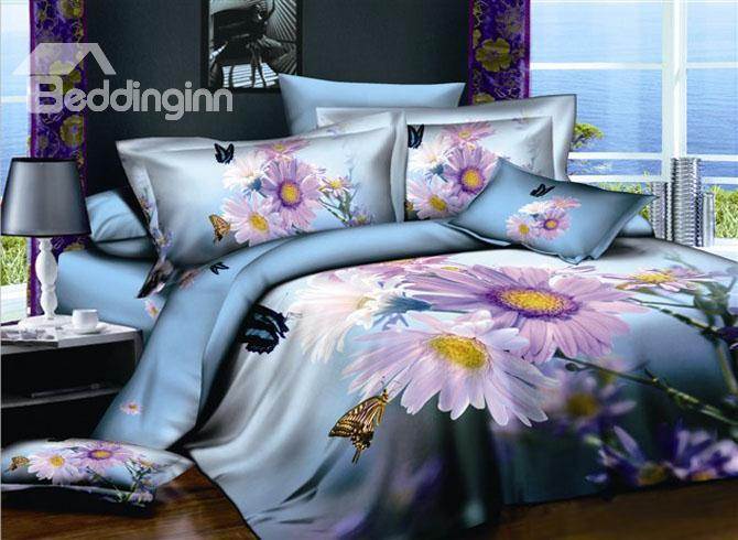 Visual Flowers And Butterflies Active Printing 4 Piece Cotton Bedding Sets 10489905)