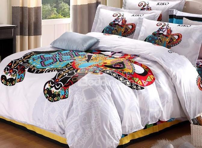 Exotic Girl And Elephant Print 4-Piece Duvet Cover Sets