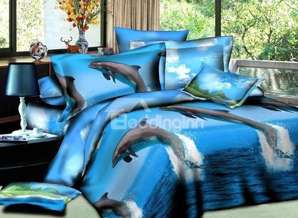 Dolphin Jumping Out Of The Water Print 4-Piece Polyester Duvet Cover Sets