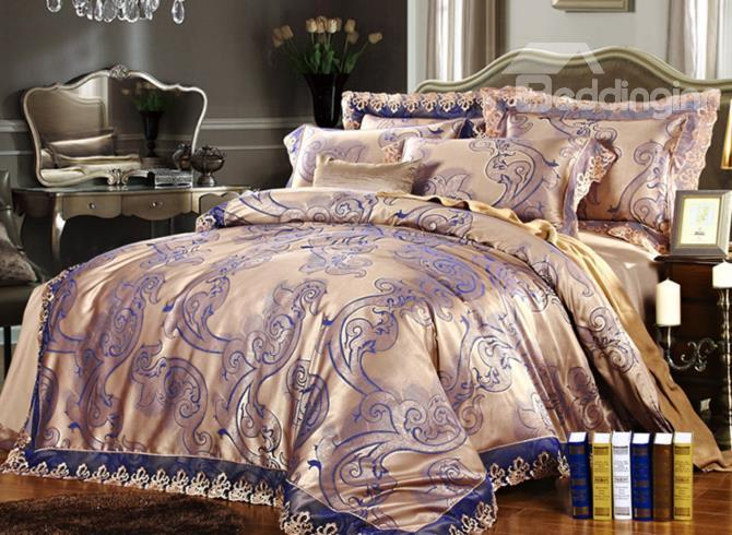 Very Soft Flower Print Lace Edge 4-Piece Duvet Cover Sets