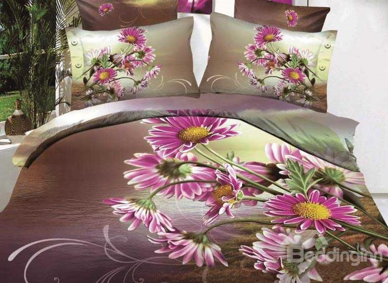 New Arrival Beautiful Purple Daisy Flowers Print 4 Piece Bedding Sets