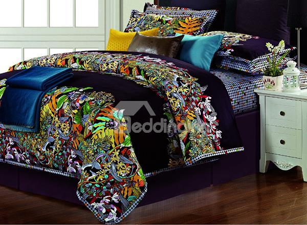 Vintage Totem Pattern 4-Piece Long-Stapled Cotton Duvet Cover Sets