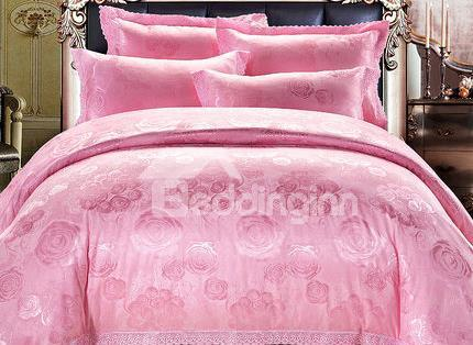 European Style Vibrant Pink 100%Cotton Duvet Cover Sets