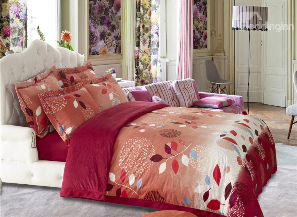 Elegant Leaves Print Sandedcloth Material 4 Piece Bedding Sets