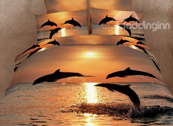 Strong And Vigorous Dolphin In The Setting Sun 4 Piece Cotton Bedding Sets 10489981)