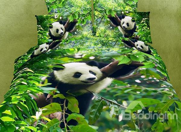 100%Cotton Reactive Printing Panda Tree Green 4 Piece Bedding Sets 10509826)