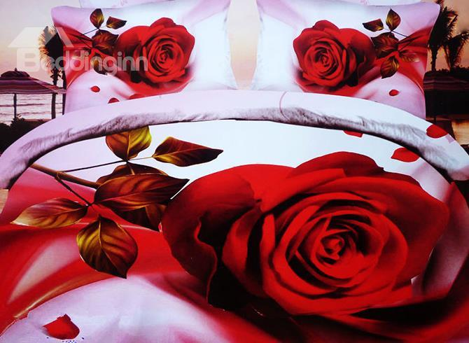 New Arrival Luxury Big Red Rose Print 4 Piece Bedding Sets/Duvet Cover Sets