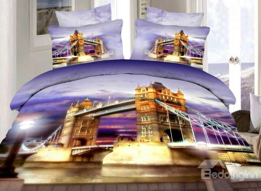 London Tower Bridge Print 4-Piece Cotton Duvet Cover Sets