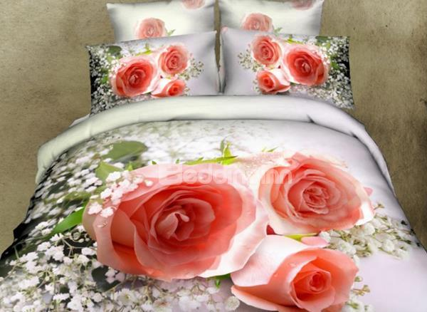 New Beautiful Champagne Roses Print 4 Piece Duvet Cover Sets