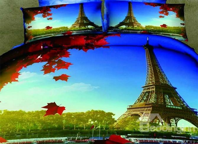 New Arrival 100%Cotton Beautiful Eiffel Tower Print 4 Piece Bedding Sets