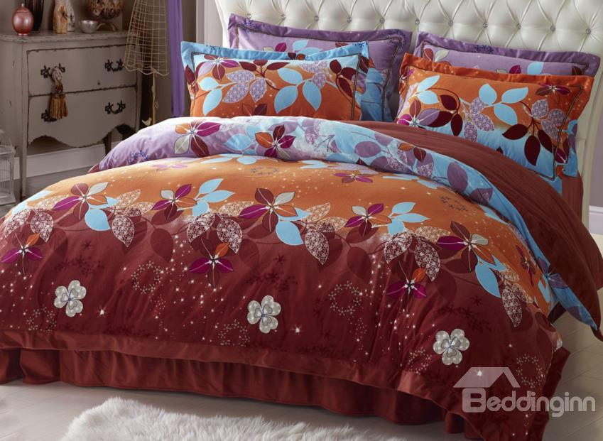 Elegant Color With Little Flower Print Sandedcloth Material 4 Piece Bedding Sets
