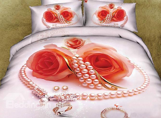 New Arrival Shining Heart Shape Pearl Ring And Rose Flower 3d Printed 4 Piece Bedding Sets