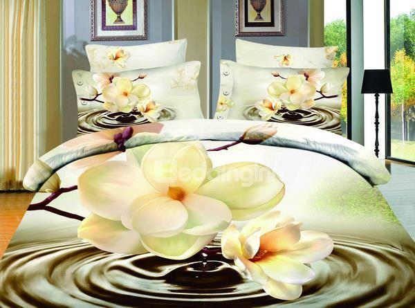 Perfect Printed Hot Sell Beauty Flower From The Water 4 Pieces Bedspreads And Duvet Cover Sets