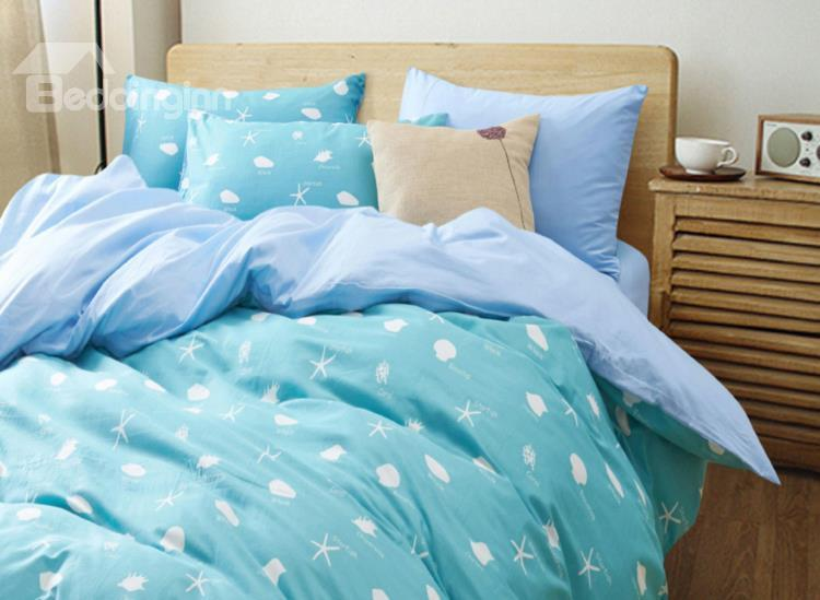 Funny Sea Creatures With Green Ground 4-Piece Cotton Duvet Cover Sets