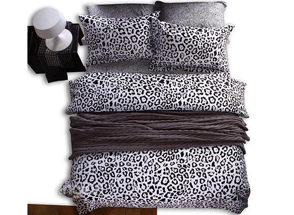 Black And White Leopard Print 4-Piece Cotton Duvet Cover Sets