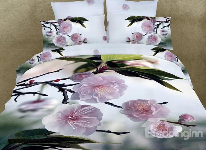 Fragrant Peach Blossom Print 3d Duvet Cover Sets