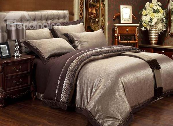 Court Style Luxury Golden Camel Patterned 4-Piece Duvet Cover Sets