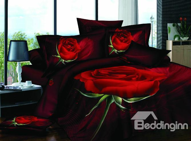 Amazing Big Red Rose Print 4 Piece Bedding Sets/Duvet Cover Sets