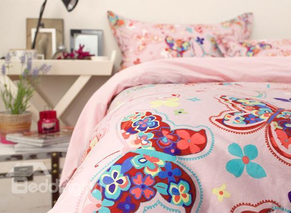 Beautiful Butterfly Print 4-Piece Princess Cotton Duvet Cover Sets