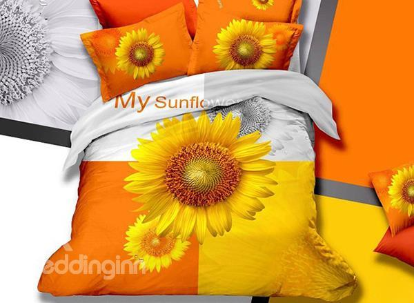 Modern Bright Sunflower Print Cotton Duvet Cover Sets
