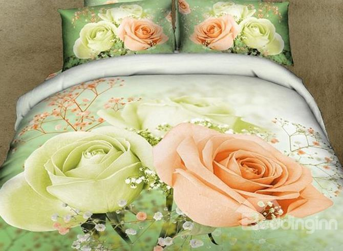 New Arrival Gorgeous Blooming Mint Rose Print 4 Piece Bedding Sets/Duvet Cover Sets